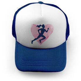 Cross Country Trucker Hat Watercolor Heart Girl