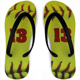 Softball Flip Flops Personalized Stitches