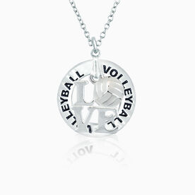 Love Volleyball White Charm and Message Ring Necklace