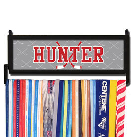 AthletesWALL Personalized Hockey Crossed Sticks Medal Display