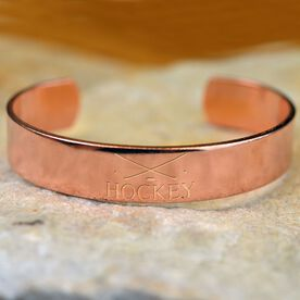Hockey Crossed Sticks Engraved Copper Bracelet