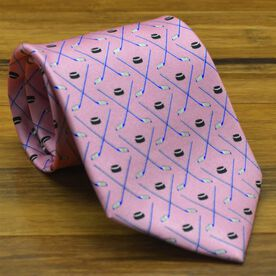 Game Time Hockey Silk Tie (Pink)