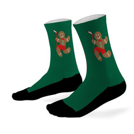Hockey Printed Mid Calf Socks Hockey Gingerbread Man