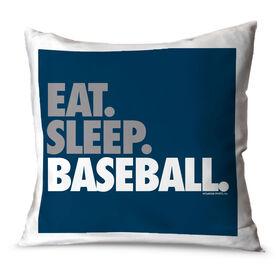 Baseball Throw Pillow Eat Sleep Baseball Bold Text