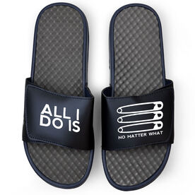 Wrestling Navy Slide Sandals - ALL I DO IS PIN PIN PIN