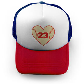 Baseball Trucker Hat - Heart With Number