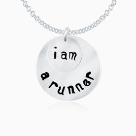 Sterling Silver Hand Stamped Curly Font I Am A Runner Curly Font Double Layered Charm Necklace