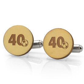 Soccer Engraved Wood Cufflinks Ball Number Slice