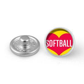 Heart Softball SportSNAPS Charm