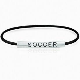 SportEXPRESSION Sterling Silver Tube Bracelet - SOCCER