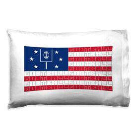 Football Pillowcase - American Flag Words
