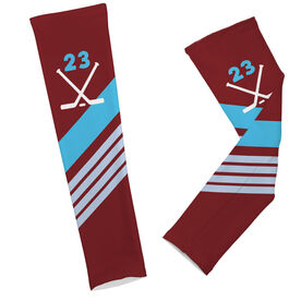 Hockey Printed Arm Sleeves Personalized Hockey Sticks with Stripes