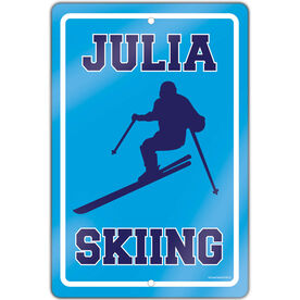 """Skiing 18"""" X 12"""" Aluminum Room Sign Personalized Skiing Girl"""