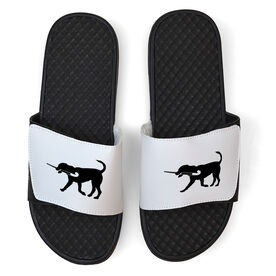 Field Hockey White Slide Sandals - Field Hockey Dog