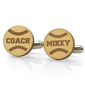 Tennis Engraved Wood Cufflinks Coach Name on Tennis Ball