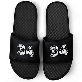 Soccer Black Slide Sandals - Custom Soccer Number