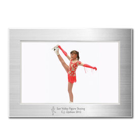Engraved Figure Skating Frame Silver 4 x 6 with Figure Skater Icon