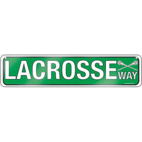 "Lacrosse Aluminum Room Sign Lacrosse Way (Green) (4""x18"")"