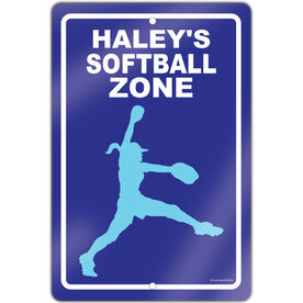 "Softball Aluminum Room Sign Personalized Softball Zone Pitcher (18"" X 12"")"