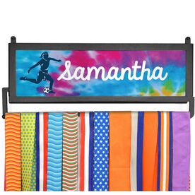 AthletesWALL Medal Display - Personalized Soccer Girl With Tie-Dye
