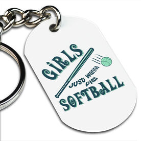 Girls Just Wanna Play Softball Printed Dog Tag Keychain
