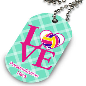 Volleyball Printed Dog Tag Necklace Love Volleyball