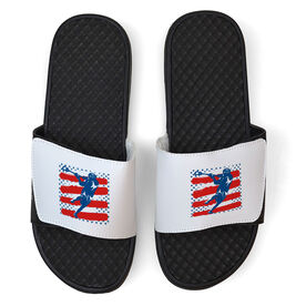 Guys Lacrosse White Slide Sandals - Lax Player Stars and Stripes