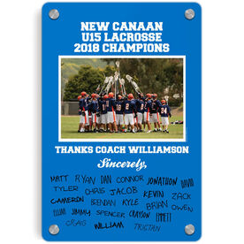 Lacrosse Metal Wall Art Panel - Personalized Thanks Coach Team Photo with Signatures