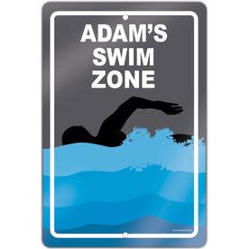 "Swimming 18"" X 12"" Aluminum Room Sign Personalized Swim Zone Guy"