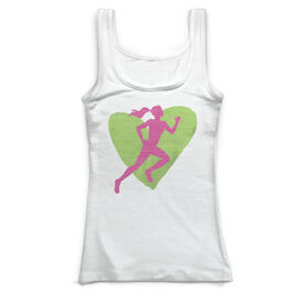 Cross Country Vintage Fitted Tank Top - Watercolor Heart Girl