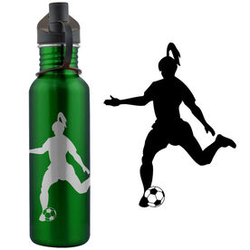 Soccer Player Silhouette (F) 24 oz Stainless Steel Water Bottle