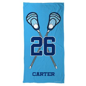 Guys Lacrosse Beach Towel Personalized Crossed Sticks with Big Number