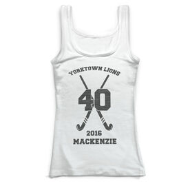 Field Hockey Vintage Fitted Tank Top - Personalized Field Hockey Team With Crossed Sticks