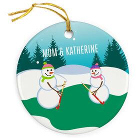 Field Hockey Porcelain Ornament Snowman Mother and Daughter