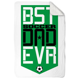Soccer Sherpa Fleece Blanket - Best Dad Ever Shield