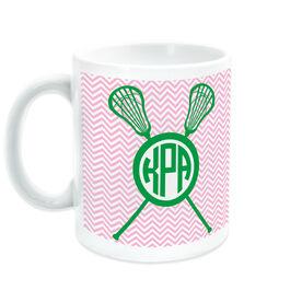 Girls Lacrosse Ceramic Mug Personalized Monogram with Crossed Sticks and Chevron Pattern