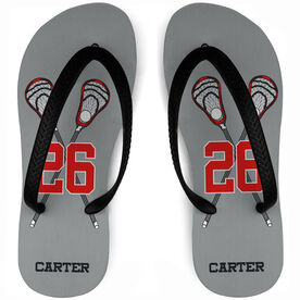 Guys Lacrosse Flip Flops Personalized Crossed Guy Sticks with Big Number