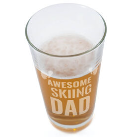 Skiing 20 oz. Beer Pint Glass Awesome Dad