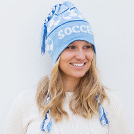 Fleece Lined Knit SOCCER Hat Light Blue/Navy