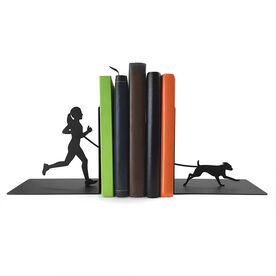 Running Bookends Runner Girl With Dog