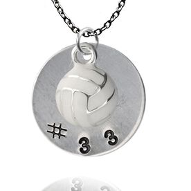 Silver Filled Hand Stamped Pendant & Silver Plated and Enamel Volleyball Necklace