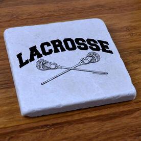 Lacrosse Crossed Sticks - Stone Coaster