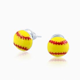 Softball Enamel Post Earrings
