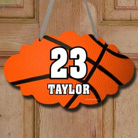 Basketball Cloud Room Sign Personalized Big Number with Basketball