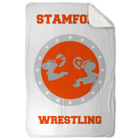 Wrestling Sherpa Fleece Blanket Personalized Wrestling Crest