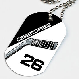 Hockey Printed Dog Tag Necklace Personalized Hockey Stick Blade
