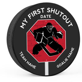 Personalized My First Shutout (Printed) Hockey Puck