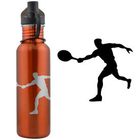 Tennis Player Silhouette (M) 24 oz Stainless Steel Water Bottle
