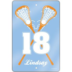 "Girls Lacrosse Aluminum Room Sign (18""x12"") Personalized Crossed Girl Sticks"