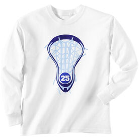 Girls Lacrosse Long Sleeve T-Shirt - Lax is Life with Number